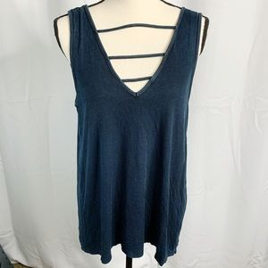 AEO soft and sexy ribbed blue tank large